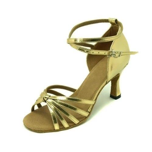 Scarpe da donna per balli latino-americani in poliuretano 5 fasce con nodino oro argento viola Oro