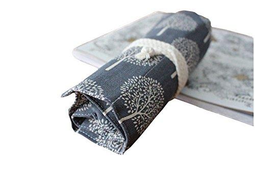 Yalulu Leinwand Pencil Wrap, Retro Weiß Baum Canvas Stifthalter gefärbt Bleistifte Roll Mehrzweck-Tasche für Schule Büro Kunst für 36/48/72 Buntstifte und Bleistifte (Bleistifte sind nicht enthalten) (36 Löcher)