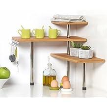 Bamboo and Stainless Steel Corner Shelf Unit–Kitchen–Bathroom–Desktop–Perfect space-saving idea. by Secret de Gourmet