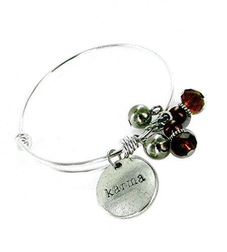 Linpeng Karma Expandable Wire Bangle Charms Bracelet