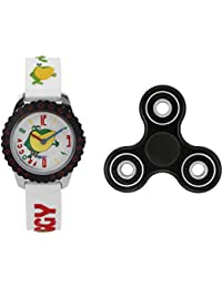 Fantasy World White Watch And Spinner Combo For Boys And Girls
