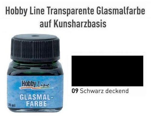 HOBBY LINE Glasmalfarbe auf Kunstharzbasis Schwarz deckend Gl. 20 ml