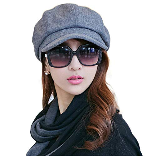 Ladies Newsboy Cabbie Beret Cap Bakerboy Visor Peaked Winter Ivy Flat Hat for Women (Gray)