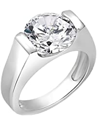 Peora Sterling Silver Rhodium Plated Cubic Zircon Solitaire Faux Tension Set Men's Ring
