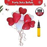 Herzluftballo Hochzeit, Party Deko ROT WEIßE, 100 Luftballons Herzluftballons Hochzeit, Herzballons Herz Ballons ROT WEIßE Mit Pumpe Herzen Ballons Dekorationen Für Party Hochzeit Valentinstag