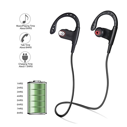 Bluetooth Earphone, Fivanus K8 Bluetooth 4.1 Wireless Sports Bluetooth Headset Built-in Microphone Compatible with Apple iPhone, Android, Windows Smartphone and other Bluetooth Devices. Test