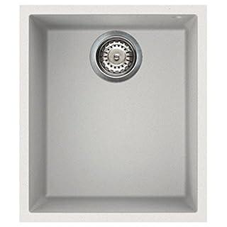 Elleci Quadra 100 1.0 Bowl Granite White Undermount Kitchen Sink & Waste