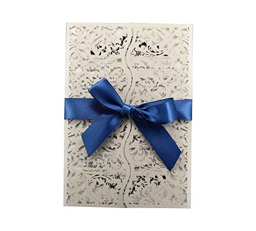 JXS-Wedding Weiße Einladung Laser Cut Hochzeitskarte Kit Personalisierte Druck 100 Stücke