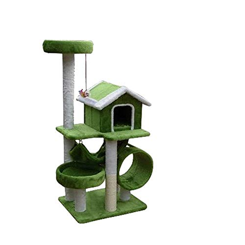 HUJPI Katzen Baum, Katzen Turm Sisal Katzen Kratzbaum Katzen Kletterturm mit Hängematte Cat Klettergerüst Katzen möbel Cat Spielturm Activity Center,Green_65*55 * 125cm