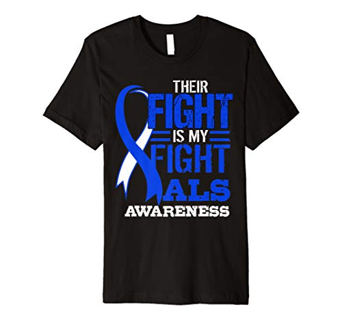 ALS Awareness Blue Ribbon T-shirt Lou Gehrig's Disease