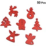 ROSENICE 50pcs Wooden Christmas Tree Decorations Ornaments Hanging Wood Angel Reindeer Snowman Xmas Tree Sock Cutout Craft Embellishments