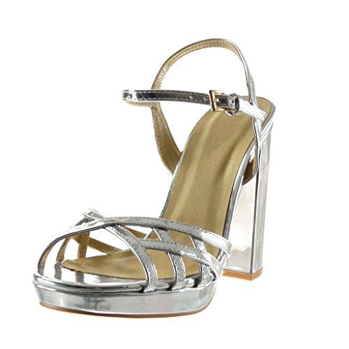 Alto Tacco Block Tacco Bridle Argento Donna Scarpe Sandali Perizoma Multi Cm 12 Angkorly Shoes Platform RqzxnBZ