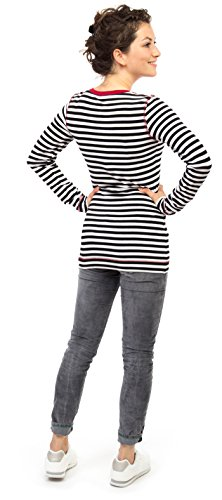 Viva la Mama 3in1 Stillpullover Mode für Schwangere Umstands Pullover Umstandsmode Longsleeve Stillen tonelli s/w-bordeaux