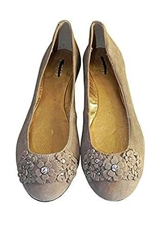 Smithers Oasis cuir plat ballerine chaussures avec applique Motif fleur sur le devant, Taille 3,5