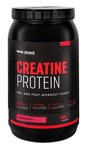 Body Attack Creatine Protein, Erdbeere (1 x 900 g) Pre-post-workout-protein