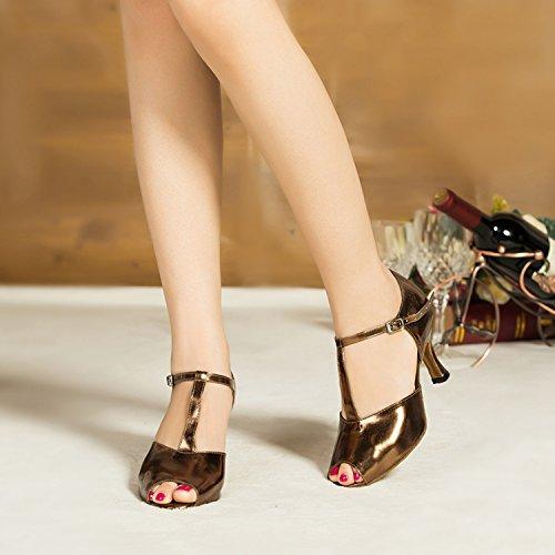 Minitoo femme coloré en cuir PU de Mariage Soirée danse-Chaussures Sandales-Latine Or - doré