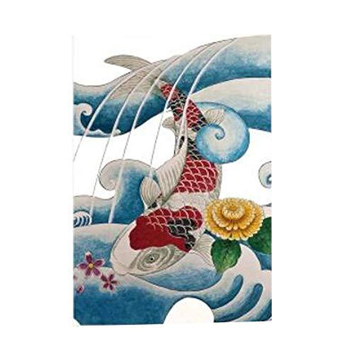 Japanische/Chinesische Art Tür Vorhänge Sushi Bar Restaurant Dekor Noren Vorhang Wohnkultur Vorhang Half Screen, Koi Fisch und Welle (Noren Koi)