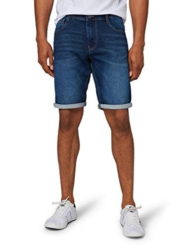 TOM TAILOR für Männer Jeanshosen Josh Regular Slim Bermuda Shorts Dark Stone wash Denim, 40