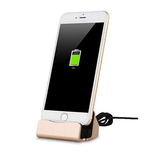 YooGoal Dockingstation Ladestation für das Apple iPhone - Dock Station mit Kabel - Ladegerät für 7, 7 Plus, 6s, 6, 6 Plus, 6s Plus, 5, 5s, 5c, SE, iPod - Gold (Ipod 5s Docking Station)