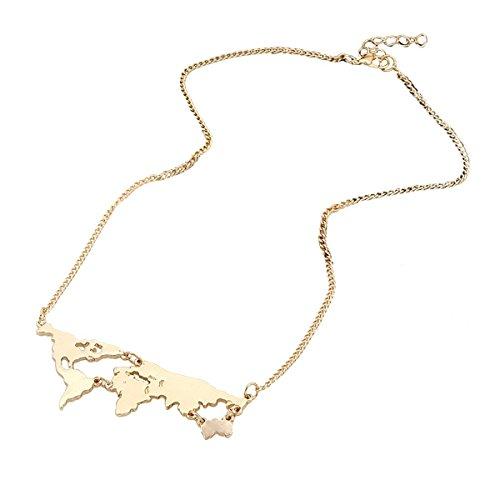 Personalisiert Hollow Welt Karte Halskette Weltkarte Landkarte Kette Charm Anhänger Kettchen Gold (Personalisierte Gold-halskette)