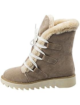 NiSeng Donne Inverno Piatto Caviglia Stivali Faux Pelle Caldo Pelliccia La Neve Stivali Lace-Up Scarpe