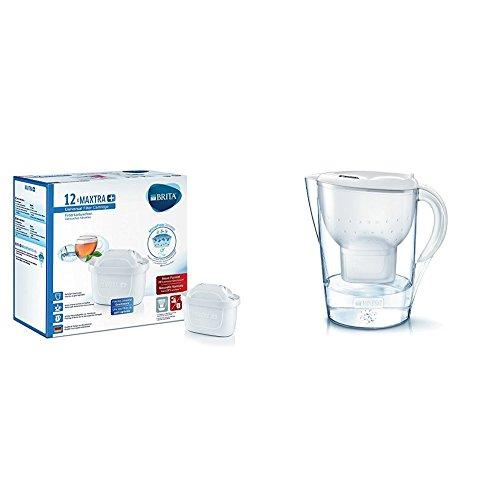 BRITA MAXTRA+ - Filtro de agua 100 l, pack de 12 meses + BRITA Marella XL - Jarra de agua de 3,5 l con filtro MAXTRA+, color blanco