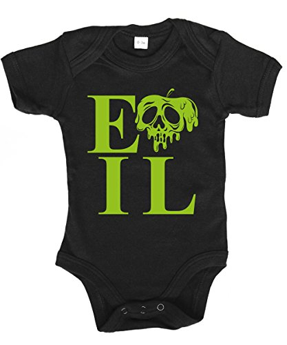 -- Evil Apple -- Babybody Schwarz, Größe 6/12 Monate (Das Böse Schneewittchen Kostüme)