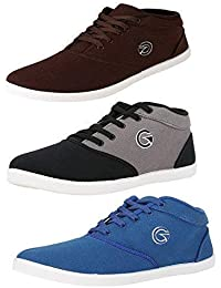 Globalite Men's Multicolor Canvas Combo of 3 Sneakers - Walk and Earn Money with The BolttCoin App!!