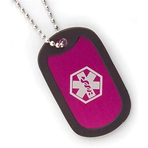 Medical Alert Fashion in alluminio, 5,3 cm, colore: rosa Hot Dog Tag Collana con catena (18 45,72