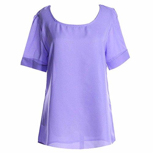 QIYUN.Z Sommer-Chiffon- Frauen Des Normallacks Chiffon- Hauchkurzschlusshuelse Hoody T-Shirts Oberteile Helles Lila