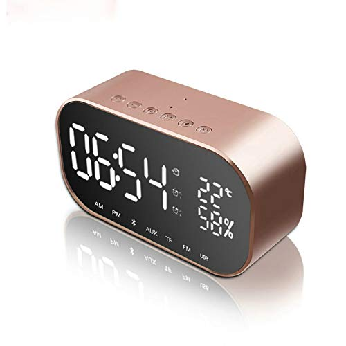 GuDoQi Despertador Digital Altavoz Bluetooth Pantalla LED Regulable Alarma Dual Repetición Ranura para Tarjeta TF Termómetro Puerto Carga USB Radio FM Inalámbrica para Dormitorio(Oro Rosa)