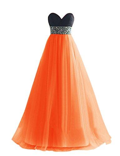 Dresstells, Robe de soirée de mariage/cérémonie/demoiselle d'honneur en tulle bustier en cœur pailletée Orange