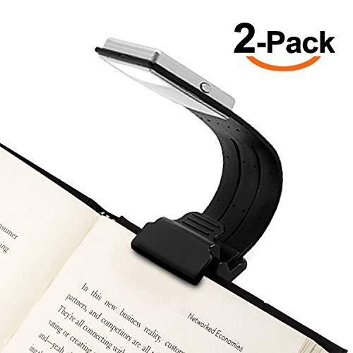 Leselampe -4 einstellbare Helligkeit zu entwerfen - Lampe mit Klammer kleine Buchlampe Leselicht flexibel Buch Lesen- Led Leselampe für Kindle- Akku der Leuchte wiederaufladbar über USB, 2 Pack