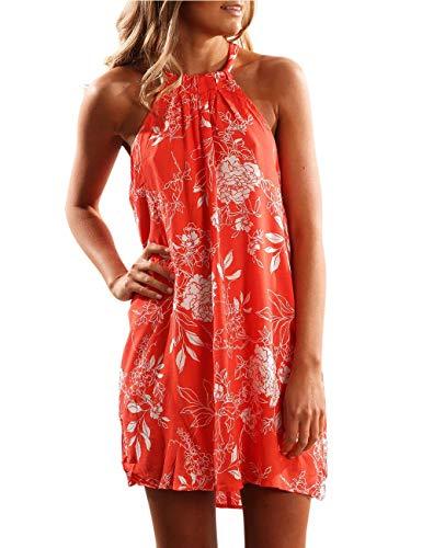 SEBOWEL Women's Floral Print Sleeveless Summer Dress Swimwear Cover Up Backless Beach Dress A Line Mini Dresses - Floral Print Sommer Kleid