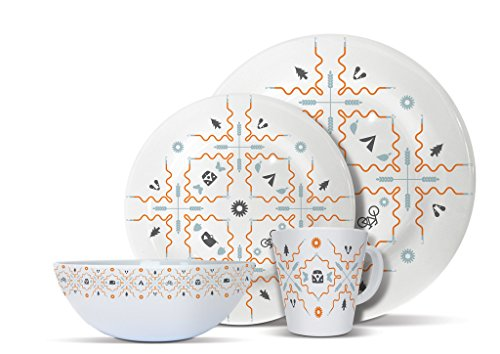 Olpro Summertime Melamine Set (Pack of 16) - White, 4 Persons