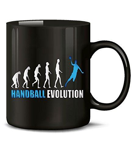Golebros Handball Evolution Sport 742 Geburtstag Geschenk Fun Tasse Becher Kaffeetasse Kaffeebecher Schwarz-Blau