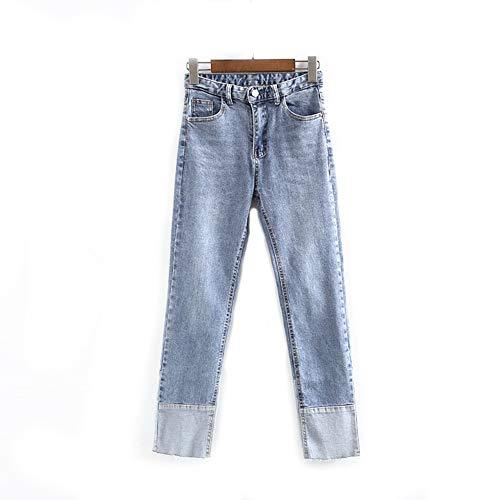 Damen Denim Hose mit weitem Bein Gewaschen Lose Kurze Jeans Gerade spleißen Mittlere Taille Helle Farbe Slim Fit Schlank Mode Damen Jeanshose,M (Levis Kurze Hosen)