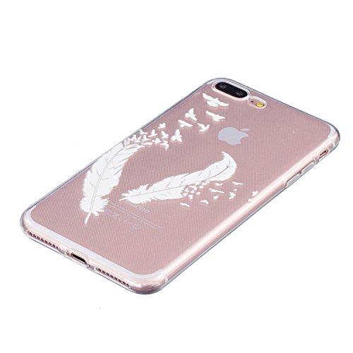 Qissy® Schutzhülle für iPhone 7 plus Hülle Case TPU Schutzhülle Crystal Case Hülle Schlank Transparent Weicher Gel Silikon Handy Hülle Bunt Telefon Kasten Abdeckung Case (4) 4
