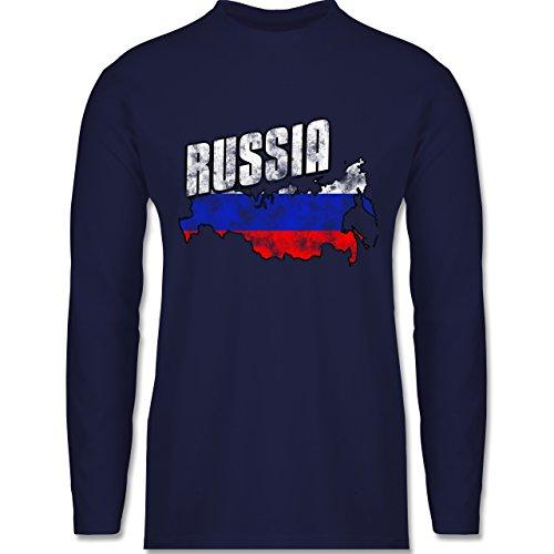Shirtracer Fußball-WM 2018 - Russland - Russia Umriss Vintage - Herren Langarmshirt Navy Blau
