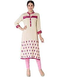 Khushal Women's Girls Rayon Straight Leheriya Casual Kurti For Festivel & Party Wear (Latest Designer Wear Kurti)