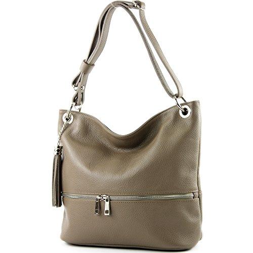 modamoda de - ital. Ledertasche Damentasche Umhängetasche Tasche Schultertasche Leder T143 Dunkeltaupe