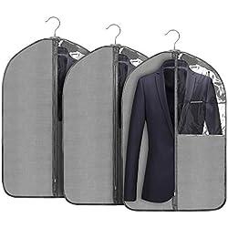 Housses de Vêtements, 3 pcs Housse de Costume, Housse Costume avec Zip et Anti-poussière Protection pour Protege Chemise, Idéal pour Stockage de Costumes et Le Voyage, 24'' x 43'' (100 x 60 cm)