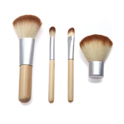 PsmGoods professionnelle 4pcs haute-cheveux synthétiques maquillage en bambou set de pinceaux cosmétiques à poignée blanc pounch