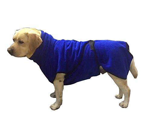 zoonpark® Mikrofaser Hund Bademantel, schnell trocknend Hund Bademantel Coat Haustier Katze Hund Puppy Badetuch blau Farbe