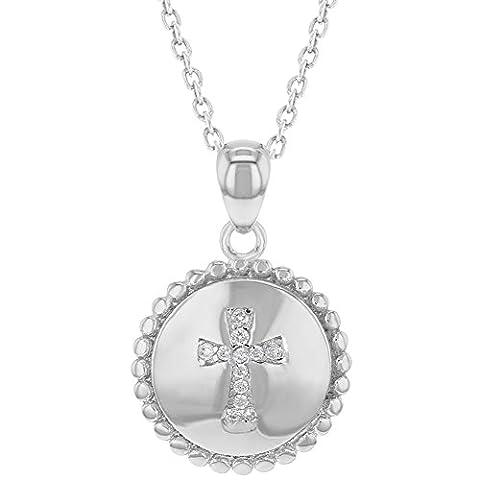 Petite Croix Argent - Argent sterling 925Croix Médaille clair CZ Pendentif