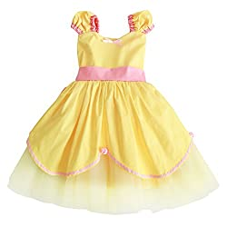 Ibtom Castle Girls Vintage Dress 1950's Round Neck Sleeveless Floral Print Party Swing Dresses Yellow Belle 3 Years