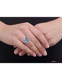 12* 15mm corte Esmeralda Aguamarina redondo brillante corte blanco diamante de imitación para Boda, Compromiso (Plata de ley 925Aniversario Anillo, todos los tamaños disponible