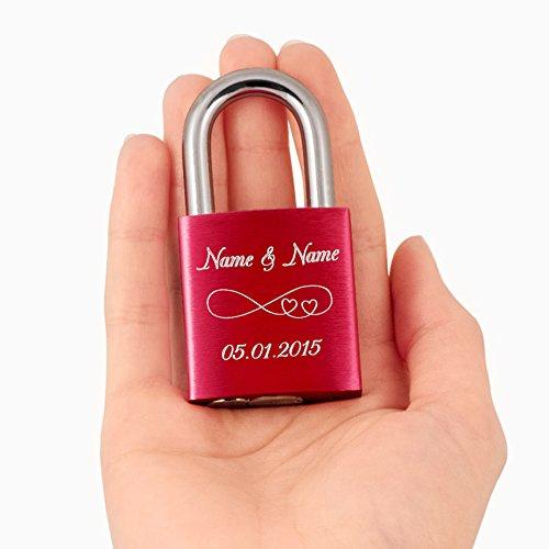 *Liebesschloss24™ Rotes Liebesschloss mit Ihrer persönlichen Gravur*