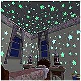 100pcs 3D Stars Glow In Dark Luminous Fluorescent Plastic Wall Sticker Home Decor Decal Wallpaper Decorative Special Festivel