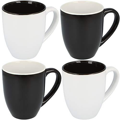 com-four® 4X Kaffeebecher Black'n'White im schlichten Design, Kaffeetasse aus Keramik in schwarz und weiß, 300 ml (04 Stück - schwarz/weiß)